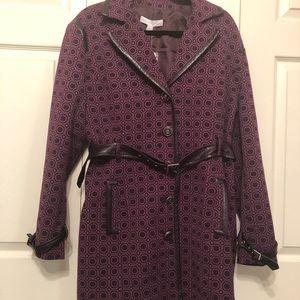 Burgundy knee length coat